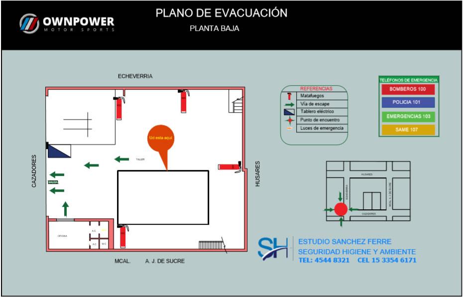 planos de evacuación segun ley 5920 CABA